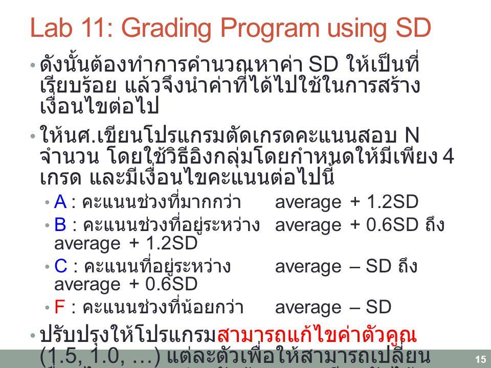 Lab 11: Grading Program using SD ดังนั้นต้องทำการคำนวณหาค่า SD ให้เป็นที่ เรียบร้อย แล้วจึงนำค่าที่ได้ไปใช้ในการสร้าง เงื่อนไขต่อไป ให้นศ. เขียนโปรแกร