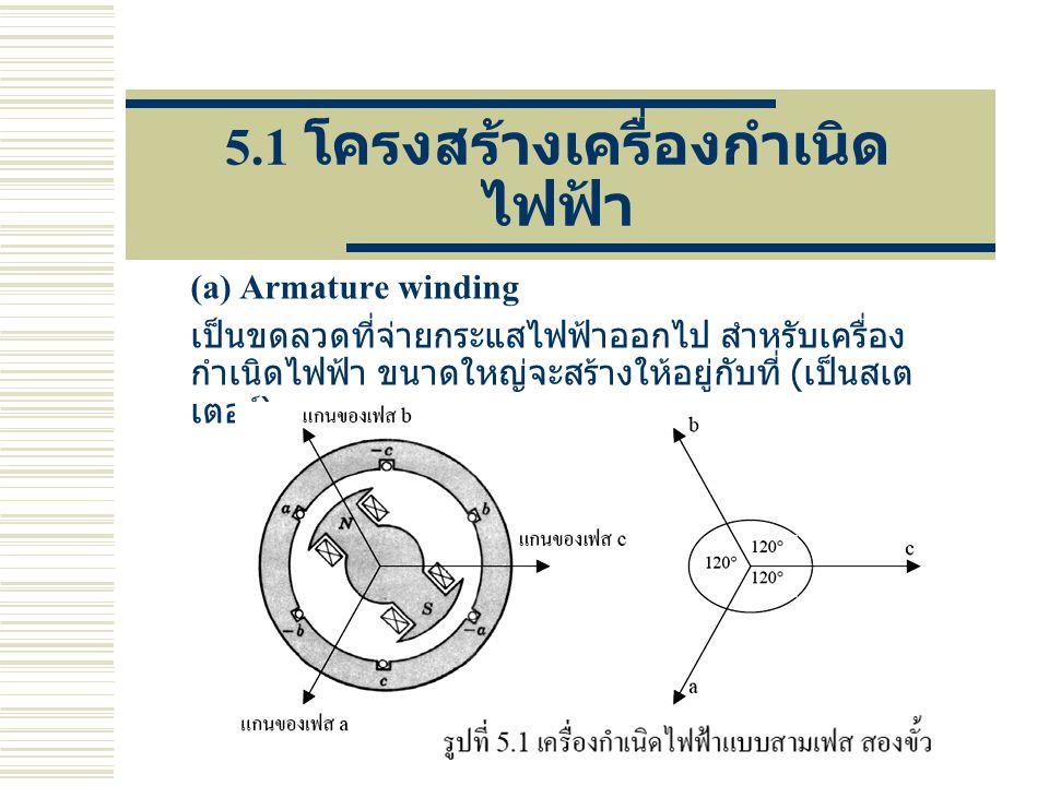 5.1 โครงสร้างเครื่องกำเนิด ไฟฟ้า (a) Armature winding เป็นขดลวดที่จ่ายกระแสไฟฟ้าออกไป สำหรับเครื่อง กำเนิดไฟฟ้า ขนาดใหญ่จะสร้างให้อยู่กับที่ ( เป็นสเต