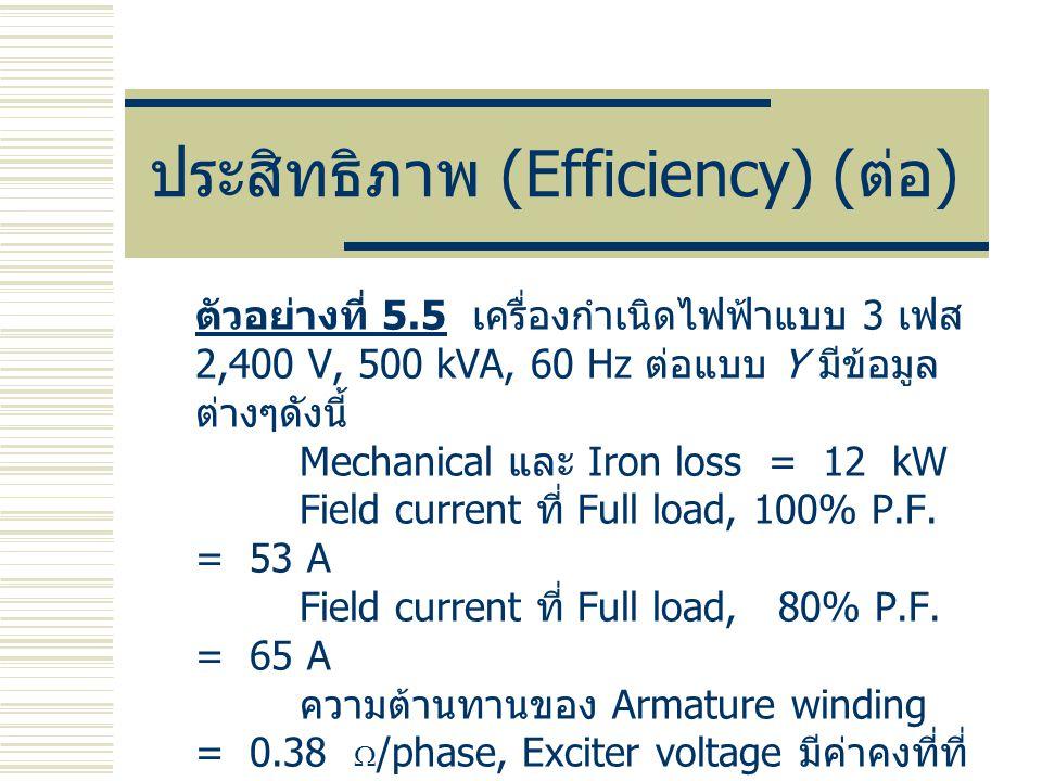 ประสิทธิภาพ (Efficiency) ( ต่อ ) ตัวอย่างที่ 5.5 เครื่องกำเนิดไฟฟ้าแบบ 3 เฟส 2,400 V, 500 kVA, 60 Hz ต่อแบบ Y มีข้อมูล ต่างๆดังนี้ Mechanical และ Iron