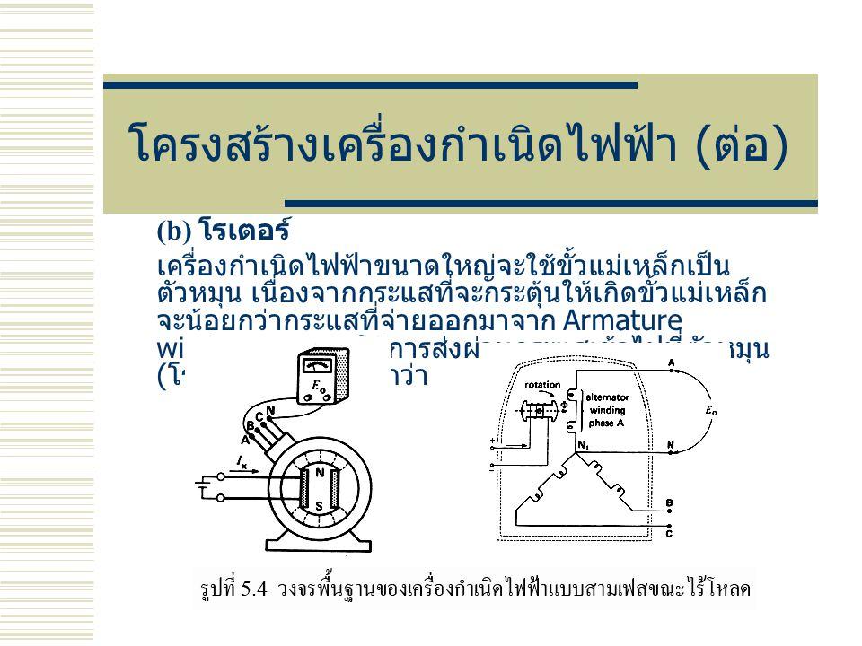 โครงสร้างเครื่องกำเนิดไฟฟ้า ( ต่อ ) (b) โรเตอร์ เครื่องกำเนิดไฟฟ้าขนาดใหญ่จะใช้ขั้วแม่เหล็กเป็น ตัวหมุน เนื่องจากกระแสที่จะกระตุ้นให้เกิดขั้วแม่เหล็ก