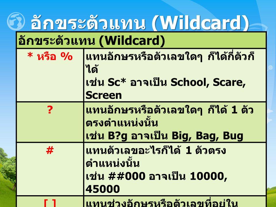 อักขระตัวแทน (Wildcard) * หรือ % แทนอักษรหรือตัวเลขใดๆ ก็ได้กี่ตัวก็ ได้ เช่น Sc* อาจเป็น School, Scare, Screen ? แทนอักษรหรือตัวเลขใดๆ ก็ได้ 1 ตัว ตร