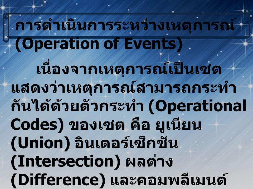 ยูเนียนของเหตุการณ์ (Union of Events) ถ้า E 1 และ E 2 เป็นเหตุการณ์สอง เหตุการณ์ แล้ว ยูเนียนของเหตุการณ์ E 1 และ E 2 เขียนแทนด้วย E 1  E 2 เป็นเหตุการณ์ซึ่ง ประกอบด้วยสมาชิกของเหตุการณ์ E 1 หรือ สมาชิกของเหตุการณ์ E 2 หรือทั้งสองเหตุการณ์ ตัวอย่างที่ 1 ในการทอดลูกเต๋า 1 ลูก 1 ครั้ง S = { 1,2,3,4,5,6 } ถ้า E 1 เป็นเหตุการณ์ที่ได้ แต้มซึ่งหารด้วย 3 ลงตัว E 1 = { 3,6 } ถ้า E 2 เป็นเหตุการณ์ที่ได้แต้มเป็นเลข คี่ E 2 = { 1,3,5 } ดังนั้น E 1  E 2 = { 1,3,5,6 }