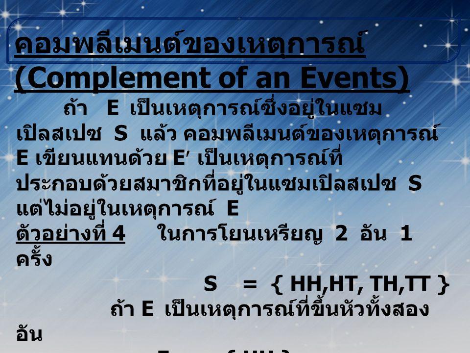 เหตุการณ์ที่ไม่เกิดร่วมกัน (Mutually Exclusive Events) ถ้า E 1 และ E 2 เป็นเหตุการณ์สอง เหตุการณ์ ที่มี E 1  E 2 ≠ 0 แล้วจะเรียกเหตุการณ์ E 1 และ E 2 ว่า เหตุการณ์ที่ไม่เกิดร่วมกัน ตัวอย่างที่ 5 ในการโยนลูกเต๋า 1 ลูก 1 ครั้ง S = { 1,2,3,4,5,6 } ถ้า E 1 เป็นเหตุการณ์ที่ได้แต้มเป็น เลขคี่ E 1 = { 1,3,5 } ถ้า E 2 เป็นเหตุการณ์ที่ได้แต้มเป็น เลขคู่ E 2 = { 2,4,6 } ดังนั้น E 1  E 2 = 