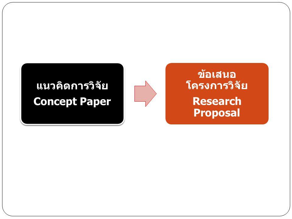 แนวคิดการวิจัย Concept Paper ข้อเสนอ โครงการวิจัย Research Proposal
