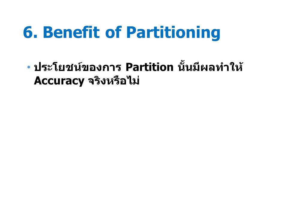6. Benefit of Partitioning ประโยชน์ของการ Partition นั้นมีผลทำให้ Accuracy จริงหรือไม่