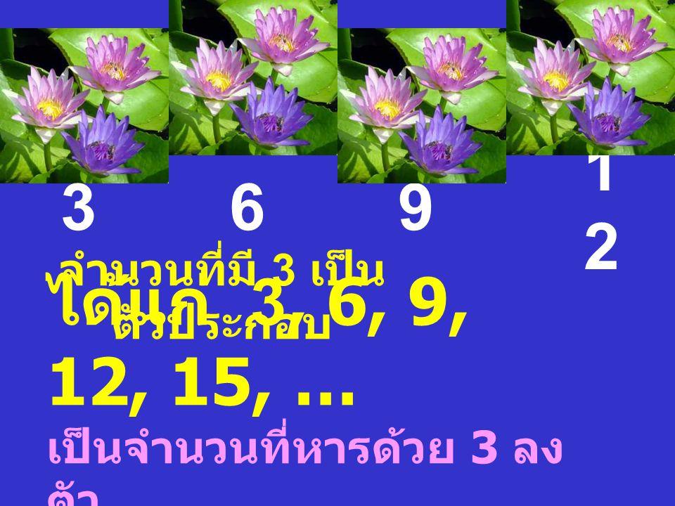 จำนวนที่มี 3 เป็น ตัวประกอบ 369 1212 ได้แก่ 3, 6, 9, 12, 15, … เป็นจำนวนที่หารด้วย 3 ลง ตัว