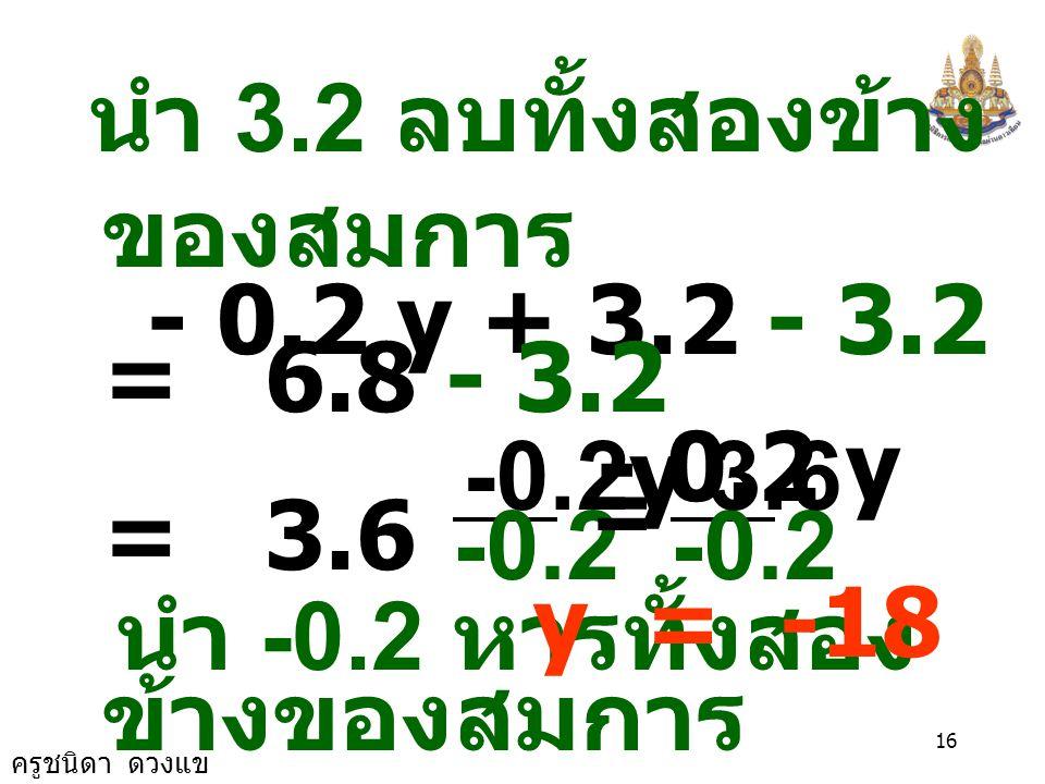 ครูชนิดา ดวงแข 15 ข้อ 21) 0.12y-1.6(y- 2) = 6.8 - 1.28y วิธีทำ 0.12y -1.6(y- 2) = 6.8 - 1.28y 0.12y - 1.6y+3.2 = 6.8 - 1.28y นำ 1.28y บวกทั้งสอง ข้างข