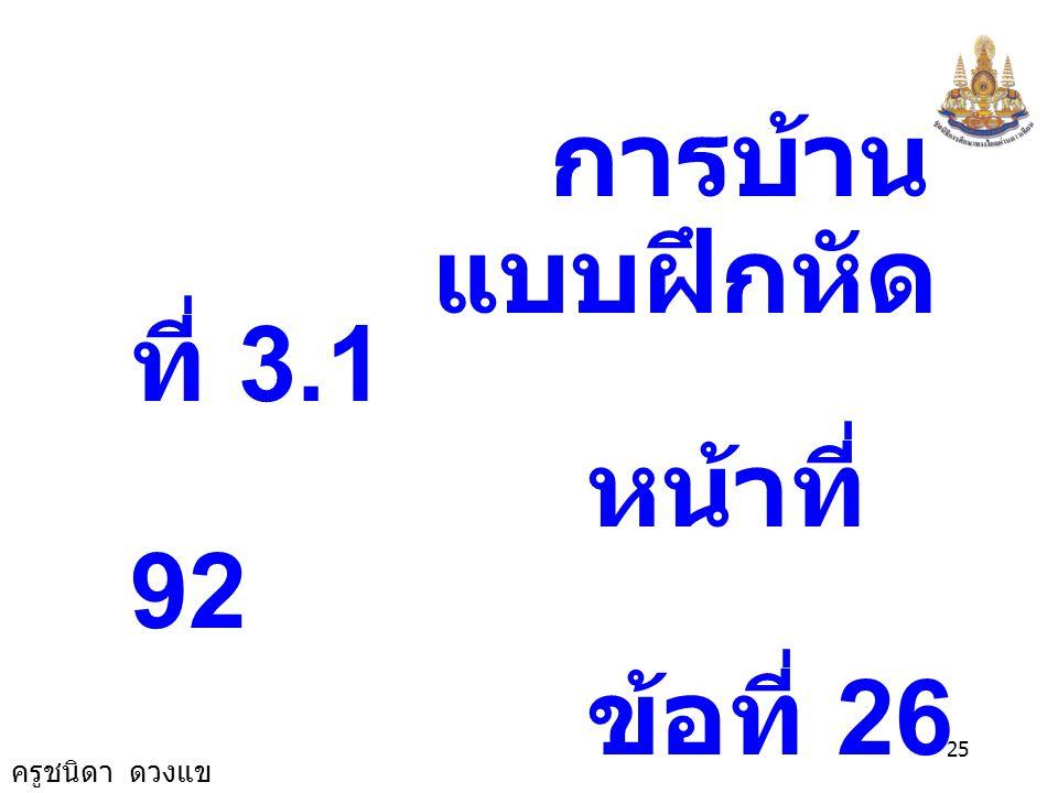 ครูชนิดา ดวงแข 24 7 -7 7 7a7a = a = -1 ตรวจสอบ แทน a ด้วย -1 ในสมการ 3 7(-1) = + - [2-(-1)] 6 5(-1) - 6 -6 3 6 = - (2+1) 3 7a = + - (2-a) 6 5a - 2 - 3