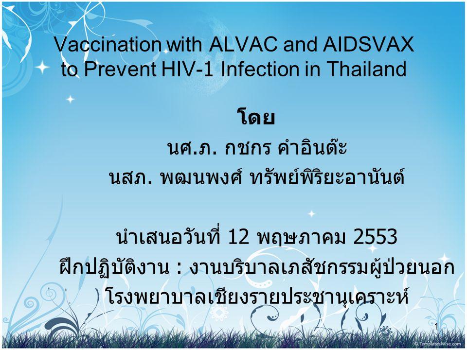 1 Vaccination with ALVAC and AIDSVAX to Prevent HIV-1 Infection in Thailand โดย นศ. ภ. กชกร คำอินต๊ะ นสภ. พฒนพงศ์ ทรัพย์พิริยะอานันต์ นำเสนอวันที่ 12