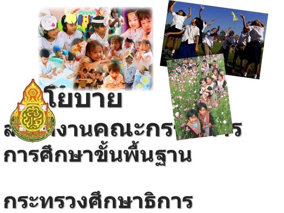 วิสัยทัศน์ สำนักงานคณะกรรมการ การศึกษาขั้นพื้นฐาน เป็น องค์กรหลักขับเคลื่อน คุณภาพการศึกษาขั้น พื้นฐานของประเทศไทยให้ ได้มาตรฐานสากล และสูง เทียบเท่าค่าเฉลี่ยของโลก ภายในปี 2563 รวมทั้งลด ช่องว่างของโอกาสและ คุณภาพการศึกษา