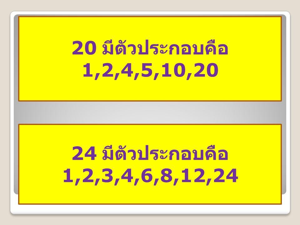 20 มีตัวประกอบคือ 1,2,4,5,10,20 24 มีตัวประกอบคือ 1,2,3,4,6,8,12,24