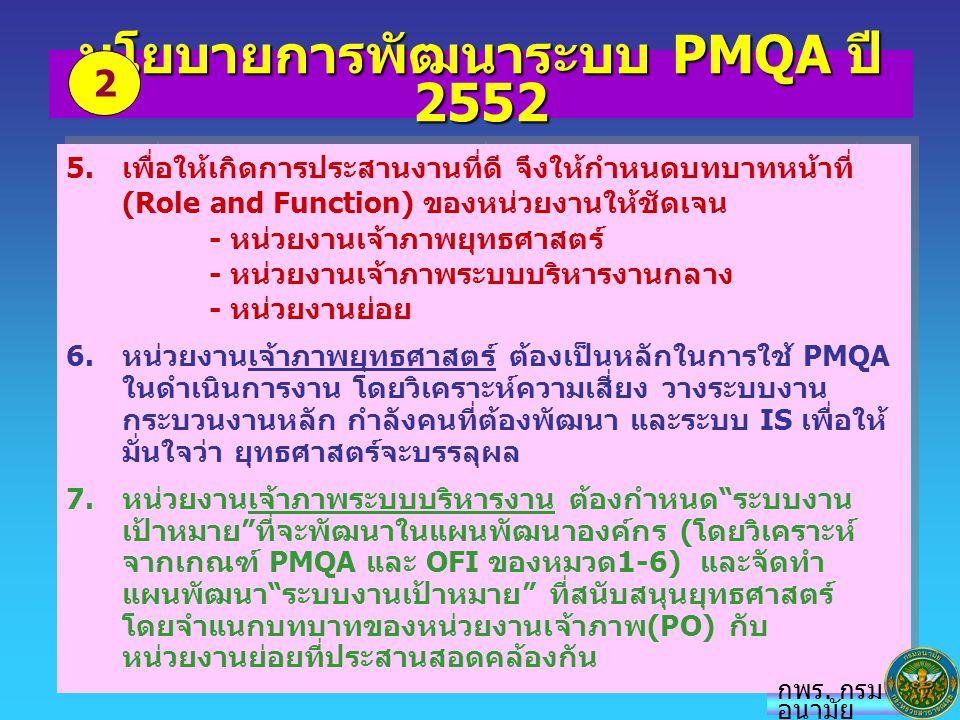 นโยบายการพัฒนาระบบ PMQA ปี 2552 5.เพื่อให้เกิดการประสานงานที่ดี จึงให้กำหนดบทบาทหน้าที่ (Role and Function) ของหน่วยงานให้ชัดเจน - หน่วยงานเจ้าภาพยุทธ