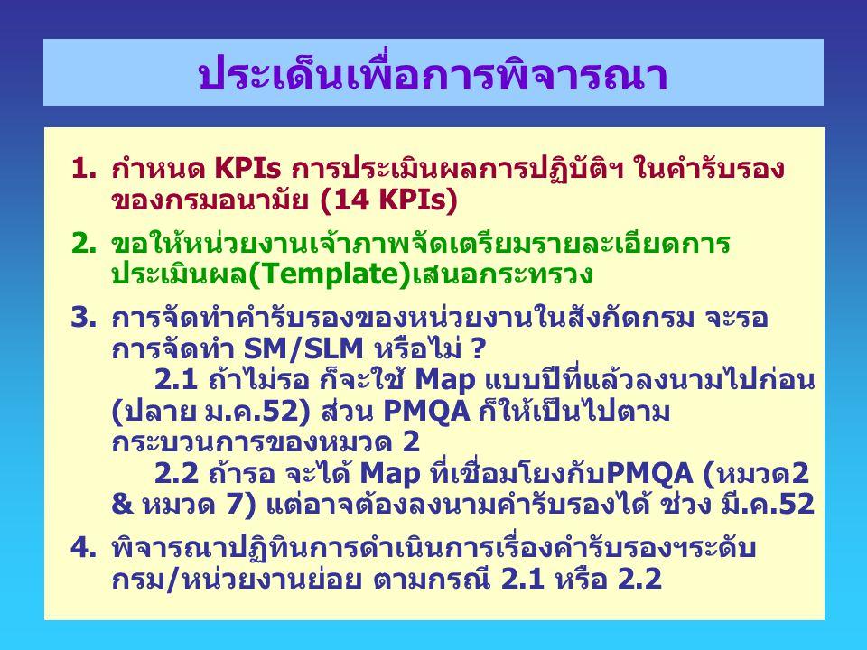 ประเด็นเพื่อการพิจารณา 1.กำหนด KPIs การประเมินผลการปฏิบัติฯ ในคำรับรอง ของกรมอนามัย (14 KPIs) 2.ขอให้หน่วยงานเจ้าภาพจัดเตรียมรายละเอียดการ ประเมินผล(T