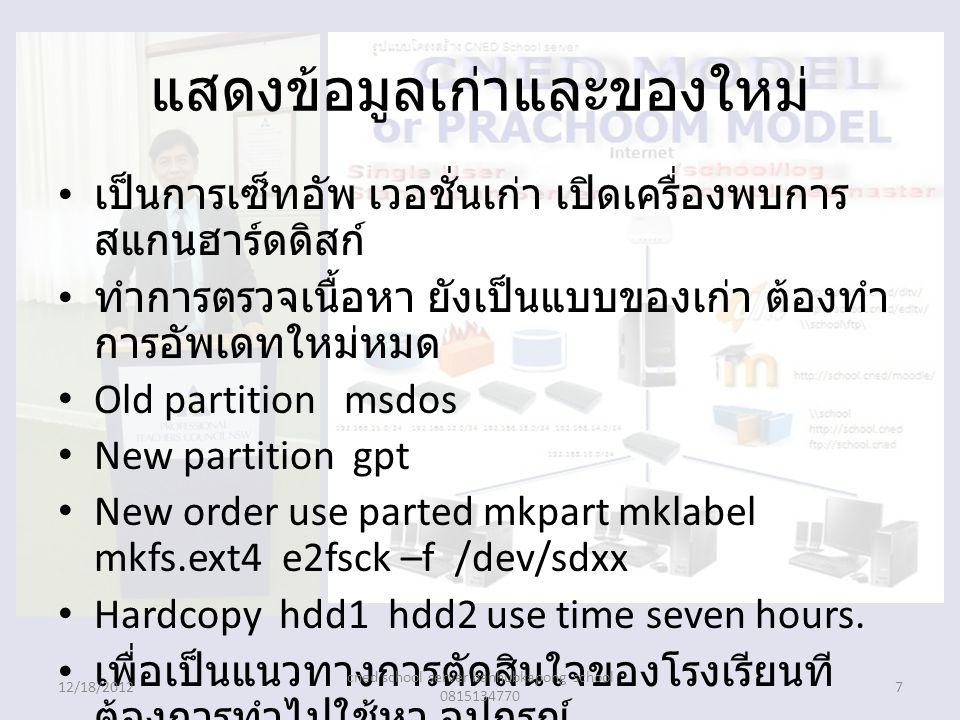 แสดงข้อมูลเก่าและของใหม่ เป็นการเซ็ทอัพ เวอชั่นเก่า เปิดเครื่องพบการ สแกนฮาร์ดดิสก์ ทำการตรวจเนื้อหา ยังเป็นแบบของเก่า ต้องทำ การอัพเดทใหม่หมด Old partition msdos New partition gpt New order use parted mkpart mklabel mkfs.ext4 e2fsck –f /dev/sdxx Hardcopy hdd1 hdd2 use time seven hours.
