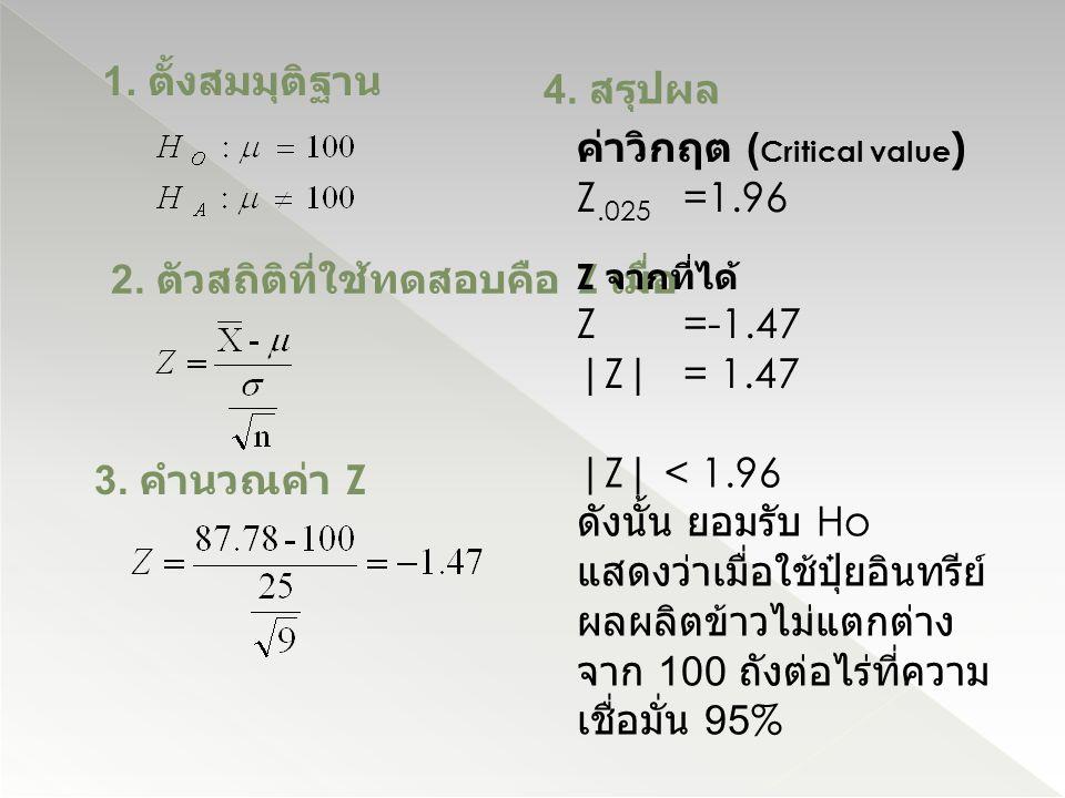 1. ตั้งสมมุติฐาน 2. ตัวสถิติที่ใช้ทดสอบคือ Z เมื่อ 3. คำนวณค่า Z 4. สรุปผล Z จากที่ได้ Z=-1.47 |Z| = 1.47 |Z| < 1.96 ดังนั้น ยอมรับ Ho แสดงว่าเมื่อใช้