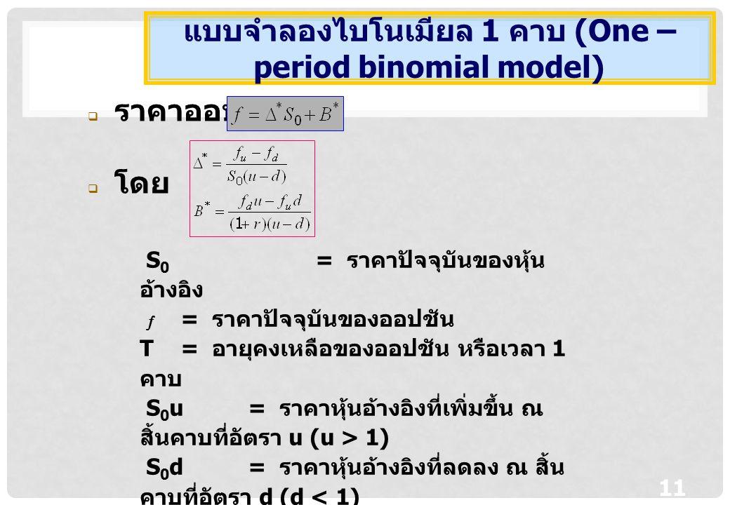 11  ราคาออปชัน  โดย แบบจำลองไบโนเมียล 1 คาบ (One – period binomial model) S 0 = ราคาปัจจุบันของหุ้น อ้างอิง  = ราคาปัจจุบันของออปชัน T = อายุคงเหลือของออปชัน หรือเวลา 1 คาบ S 0 u= ราคาหุ้นอ้างอิงที่เพิ่มขึ้น ณ สิ้นคาบที่อัตรา u (u > 1) S 0 d= ราคาหุ้นอ้างอิงที่ลดลง ณ สิ้น คาบที่อัตรา d (d < 1)  u = มูลค่าออปชันที่ราคาหุ้นอ้างอิงเท่ากับ S 0 u  d = มูลค่าออปชันที่ราคาหุ้นอ้างอิงเท่ากับ S 0 d