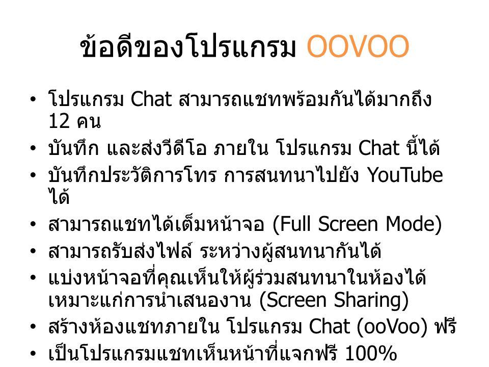 ข้อดีของโปรแกรม OOVOO โปรแกรม Chat สามารถแชทพร้อมกันได้มากถึง 12 คน บันทึก และส่งวีดีโอ ภายใน โปรแกรม Chat นี้ได้ บันทึกประวัติการโทร การสนทนาไปยัง Yo