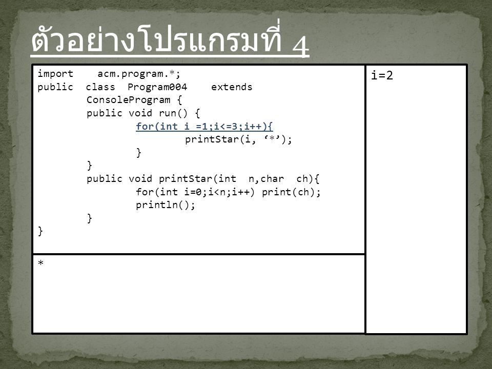 ตัวอย่างโปรแกรมที่ 4 import acm.program.*; public class Program004 extends ConsoleProgram { public void run() { for(int i =1;i<=3;i++){ printStar(i, '*'); } public void printStar(int n,char ch){ for(int i=0;i<n;i++) print(ch); println(); } i=2 *