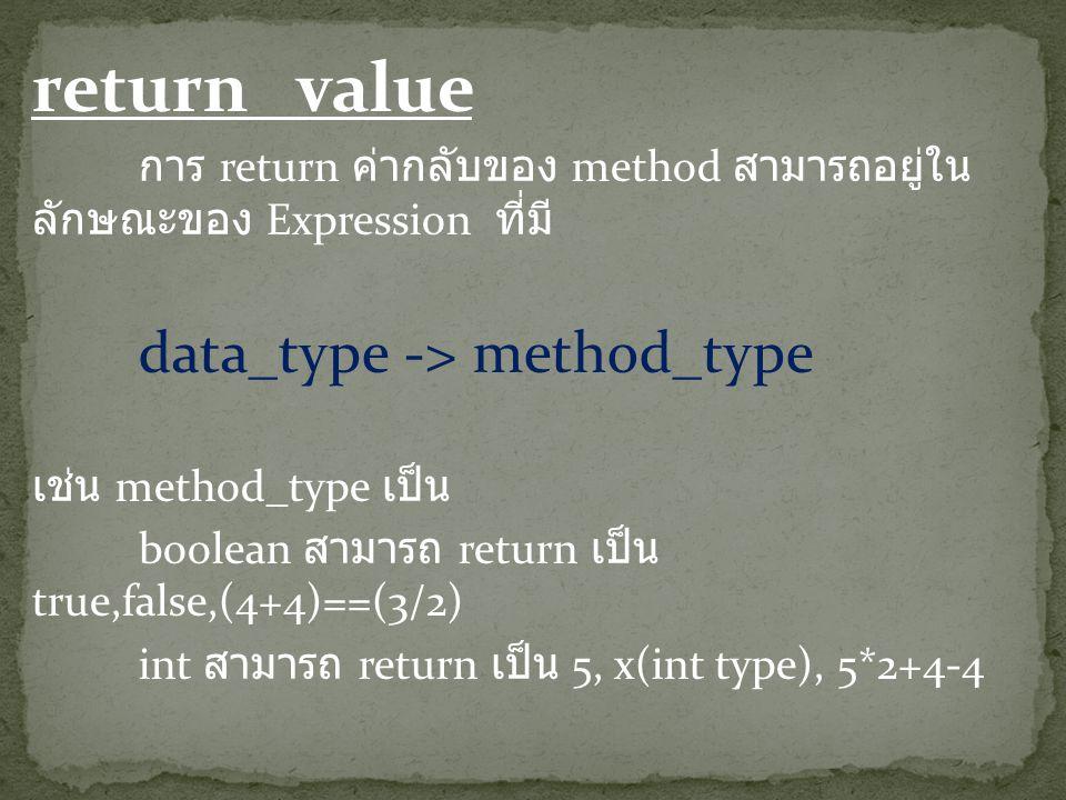 return value การ return ค่ากลับของ method สามารถอยู่ใน ลักษณะของ Expression ที่มี data_type -> method_type เช่น method_type เป็น boolean สามารถ return เป็น true,false,(4+4)==(3/2) int สามารถ return เป็น 5, x(int type), 5*2+4-4