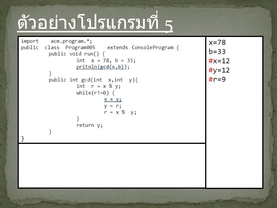 ตัวอย่างโปรแกรมที่ 5 import acm.program.*; public class Program005 extends ConsoleProgram { public void run() { int x = 78, b = 33; pritnln(gcd(x,b)); } public int gcd(int x,int y){ int r = x % y; while(r!=0) { x = y; y = r; r = x % y; } return y; } x=78 b=33 #x=12 #y=12 #r=9