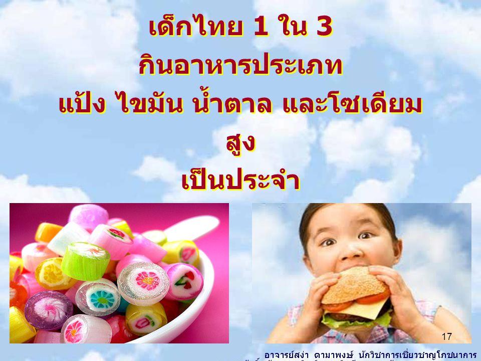 เด็กไทย 1 ใน 3 กินอาหารประเภท แป้ง ไขมัน น้ำตาล และโซเดียม สูง เป็นประจำ เด็กไทย 1 ใน 3 กินอาหารประเภท แป้ง ไขมัน น้ำตาล และโซเดียม สูง เป็นประจำ 17