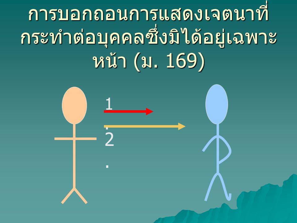 การบอกถอนการแสดงเจตนาที่ กระทำต่อบุคคลซึ่งมิได้อยู่เฉพาะ หน้า ( ม. 169) 1.1. 2.2.