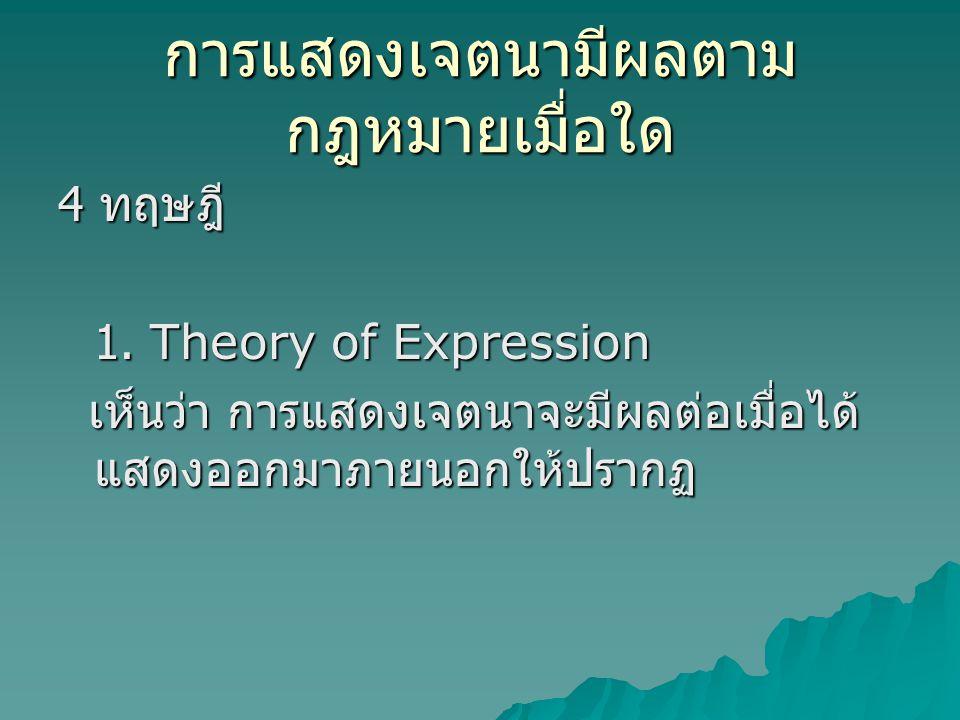 การแสดงเจตนามีผลตาม กฎหมายเมื่อใด 4 ทฤษฎี 1. Theory of Expression เห็นว่า การแสดงเจตนาจะมีผลต่อเมื่อได้ แสดงออกมาภายนอกให้ปรากฏ เห็นว่า การแสดงเจตนาจะ