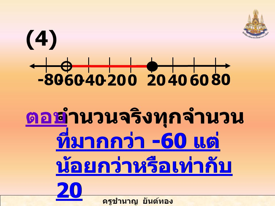 ครูชำนาญ ยันต์ทอง จำนวนจริงทุกจำนวน ที่มากกว่า -60 แต่ น้อยกว่าหรือเท่ากับ 20 -60-40-20 -80 4020600 80 ตอบ (4)