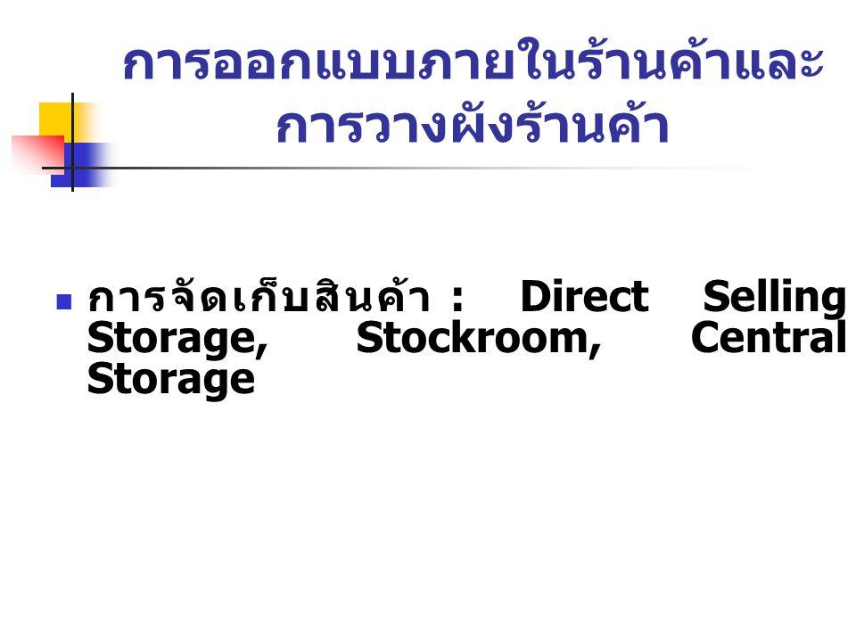 การออกแบบภายในร้านค้าและ การวางผังร้านค้า การจัดเก็บสินค้า : Direct Selling Storage, Stockroom, Central Storage