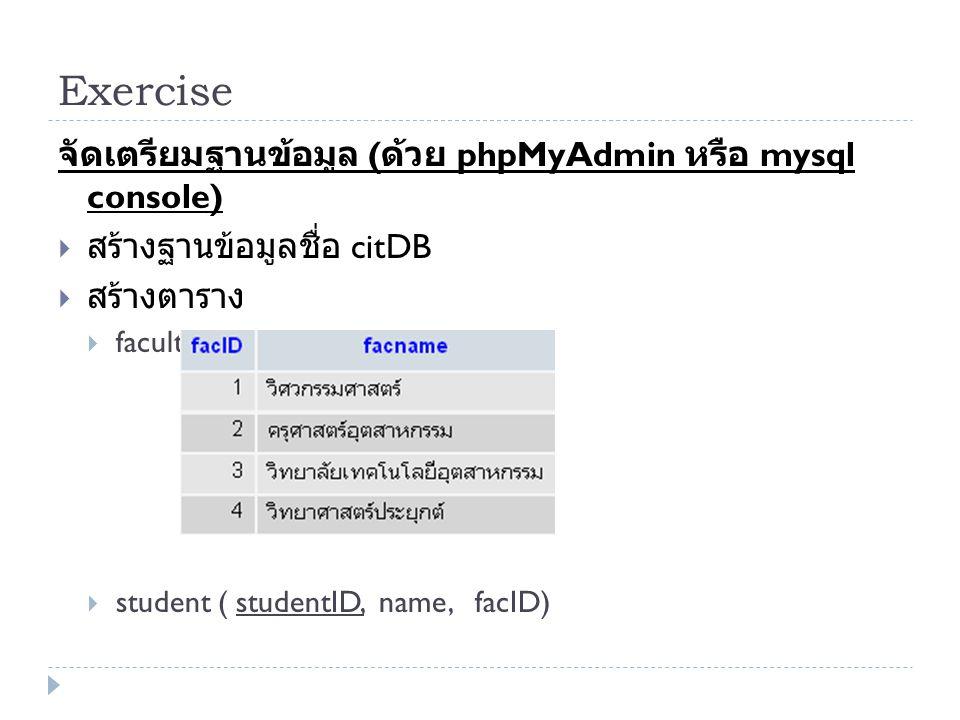 Exercise จัดเตรียมฐานข้อมูล ( ด้วย phpMyAdmin หรือ mysql console)  สร้างฐานข้อมูลชื่อ citDB  สร้างตาราง  faculty (facID, facname)  student ( stude
