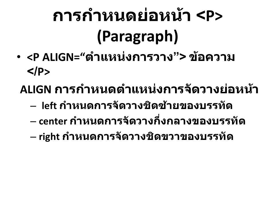 การกำหนดย่อหน้า (Paragraph) ข้อความ ALIGN การกำหนดตำแหน่งการจัดวางย่อหน้า – left กำหนดการจัดวางชิดซ้ายของบรรทัด – center กำหนดการจัดวางกึ่งกลางของบรรท