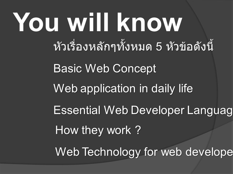 You will know หัวเรื่องหลักๆทั้งหมด 5 หัวข้อดังนี้ Basic Web Concept Web application in daily life Essential Web Developer Language How they work ? We