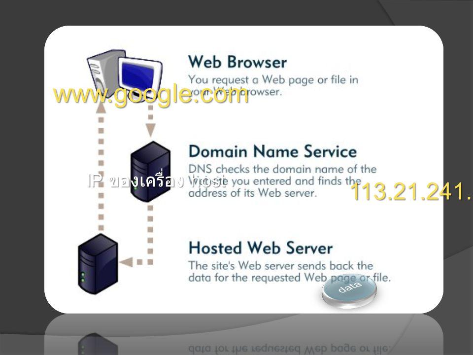 www.google.com 113.21.241.59 IP ของเครื่อง host