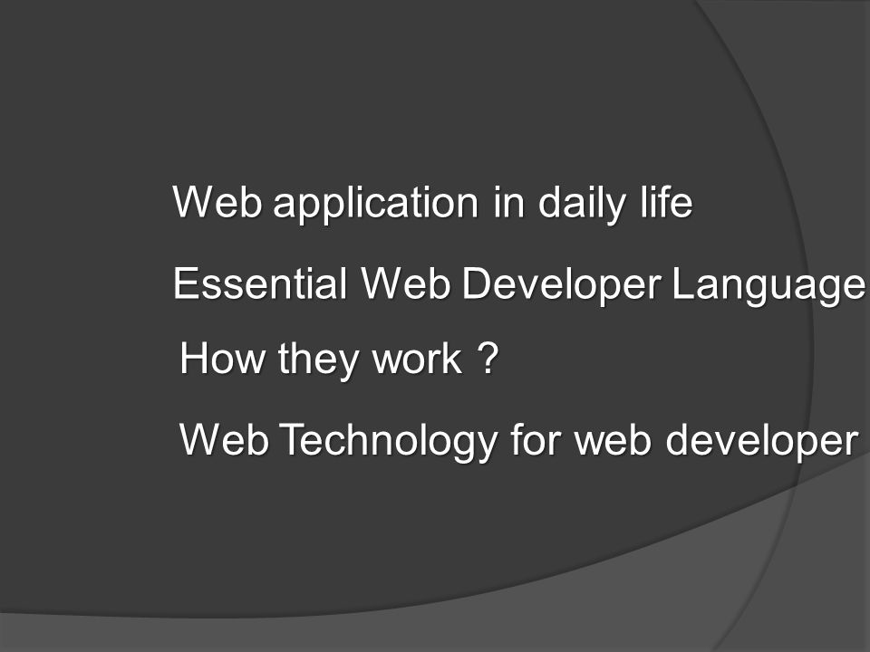 Web application in daily life Essential Web Developer Language How they work ? Web Technology for web developer