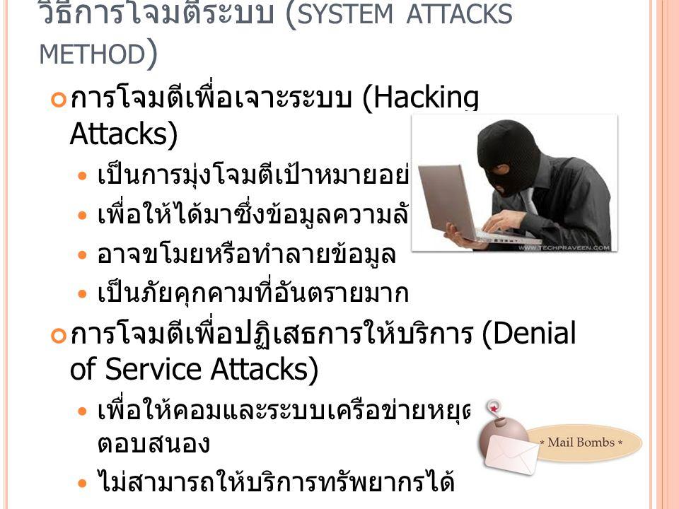 วิธีการโจมตีระบบ ( SYSTEM ATTACKS METHOD ) การโจมตีเพื่อเจาะระบบ (Hacking Attacks) เป็นการมุ่งโจมตีเป้าหมายอย่างชัดเจน เพื่อให้ได้มาซึ่งข้อมูลความลับ