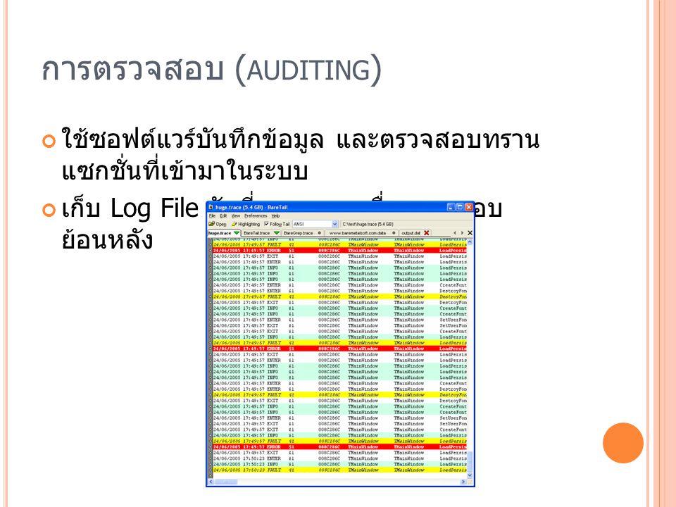 การตรวจสอบ ( AUDITING ) ใช้ซอฟต์แวร์บันทึกข้อมูล และตรวจสอบทราน แซกชั่นที่เข้ามาในระบบ เก็บ Log File วันที่และเวลา เพื่อตรวจสอบ ย้อนหลัง