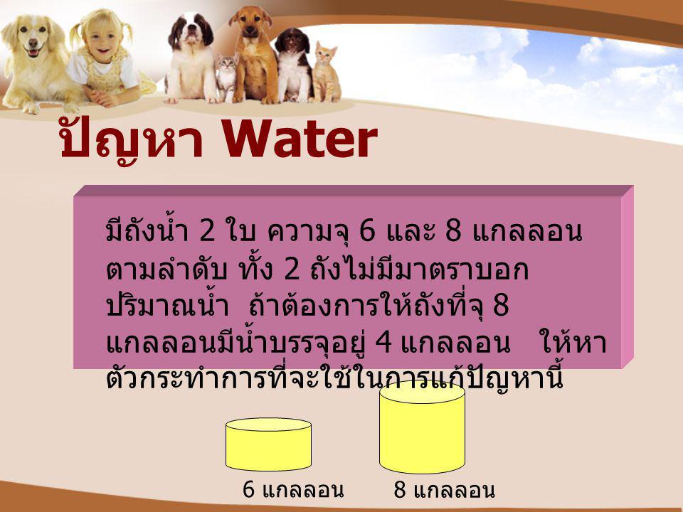 ปัญหา Water 6 แกลลอน 8 แกลลอน มีถังน้ำ 2 ใบ ความจุ 6 และ 8 แกลลอน ตามลำดับ ทั้ง 2 ถังไม่มีมาตราบอก ปริมาณน้ำ ถ้าต้องการให้ถังที่จุ 8 แกลลอนมีน้ำบรรจุอ