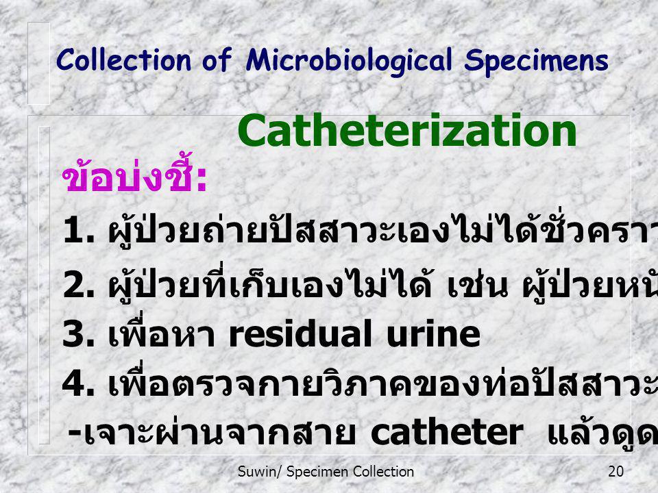 Suwin/ Specimen Collection20 - เจาะผ่านจากสาย catheter แล้วดูดปัสสาวะออกมา Collection of Microbiological Specimens ข้อบ่งชี้ : 1. ผู้ป่วยถ่ายปัสสาวะเอ
