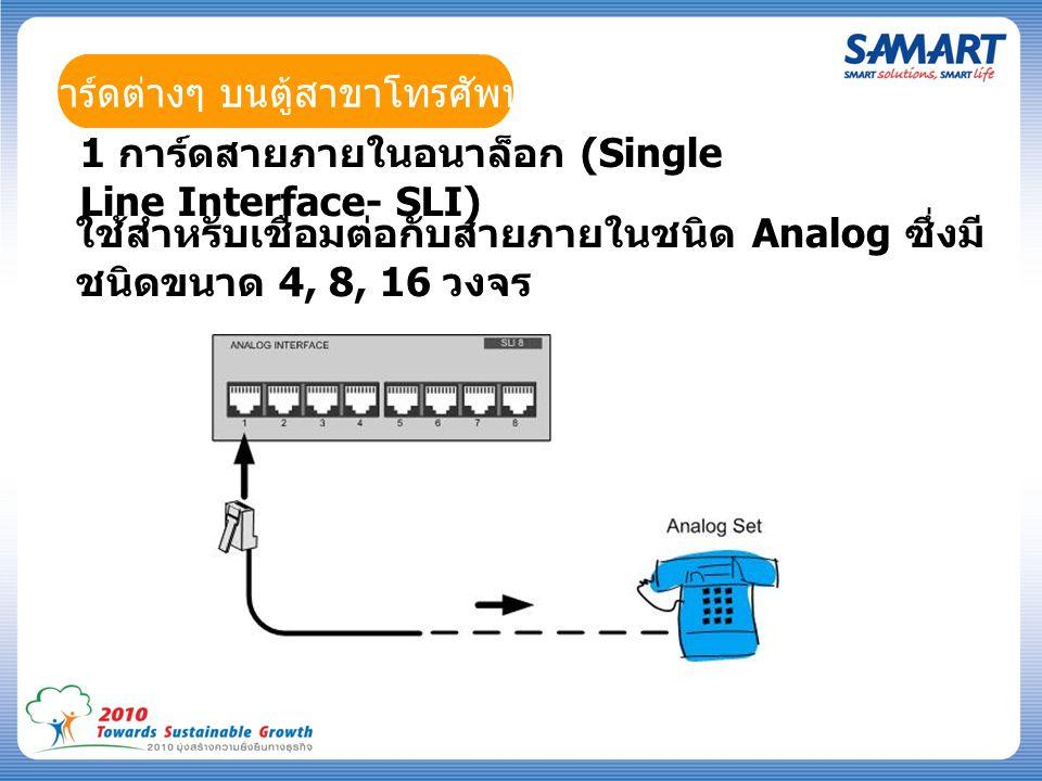 การ์ดต่างๆ บนตู้สาขาโทรศัพท์ 1 การ์ดสายภายในอนาล็อก (Single Line Interface- SLI) ใช้สำหรับเชื่อมต่อกับสายภายในชนิด Analog ซึ่งมี ชนิดขนาด 4, 8, 16 วงจร