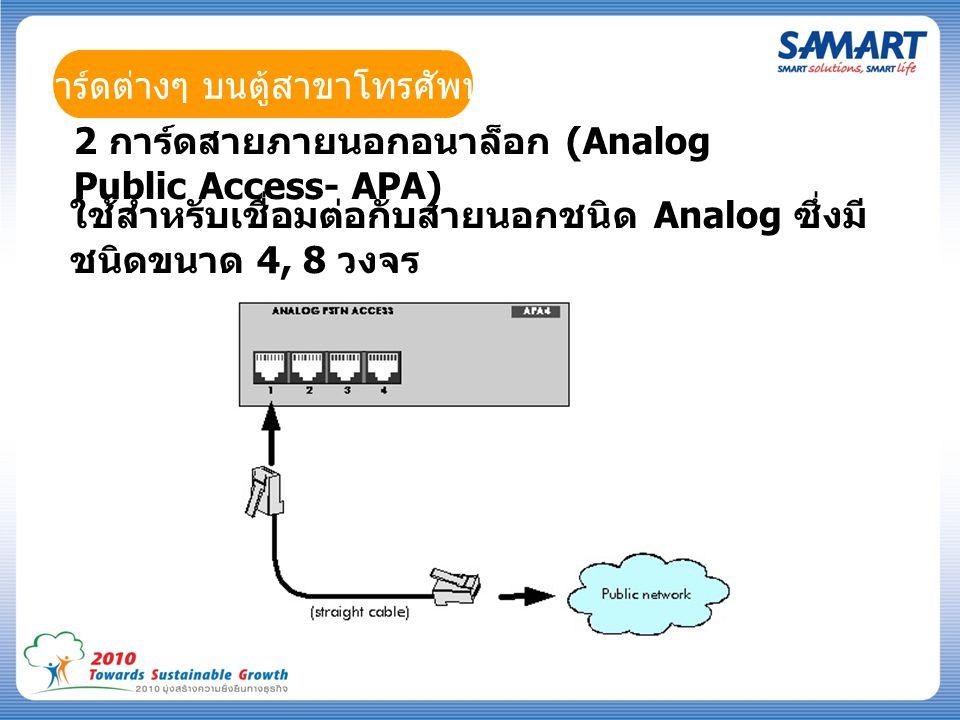 การ์ดต่างๆ บนตู้สาขาโทรศัพท์ 2 การ์ดสายภายนอกอนาล็อก (Analog Public Access- APA) ใช้สำหรับเชื่อมต่อกับสายนอกชนิด Analog ซึ่งมี ชนิดขนาด 4, 8 วงจร