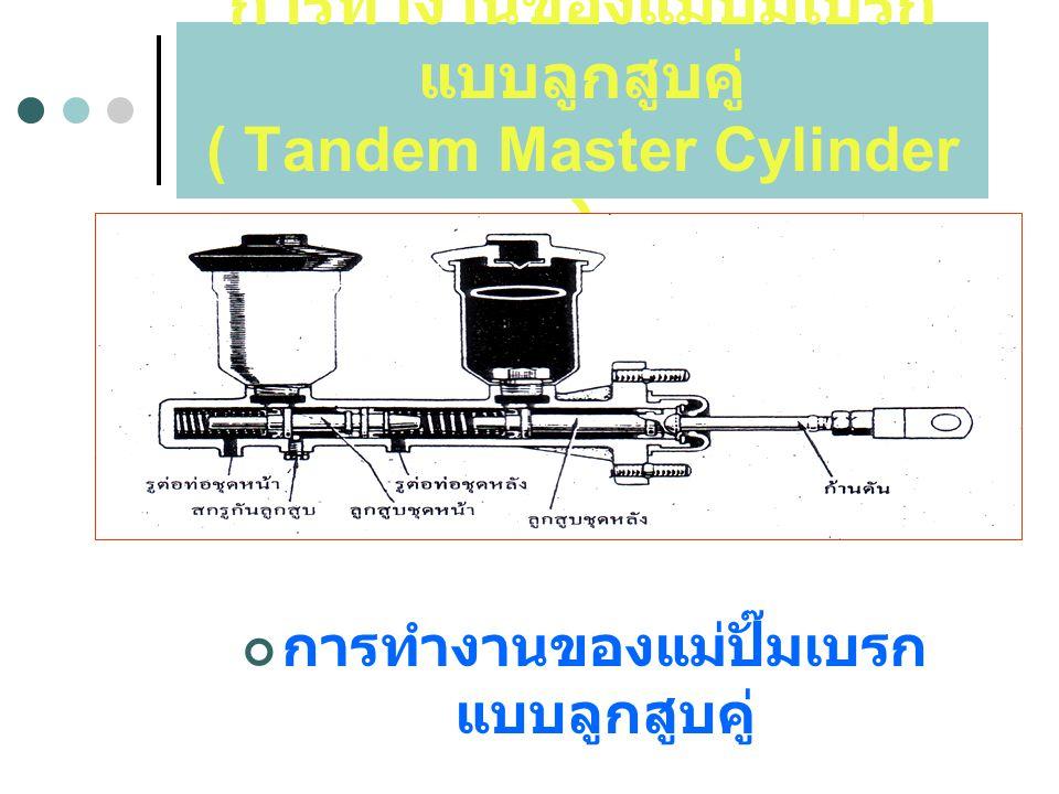 การทำงานของแม่ปั๊มเบรก แบบลูกสูบคู่ ( Tandem Master Cylinder ) การทำงานของแม่ปั๊มเบรก แบบลูกสูบคู่