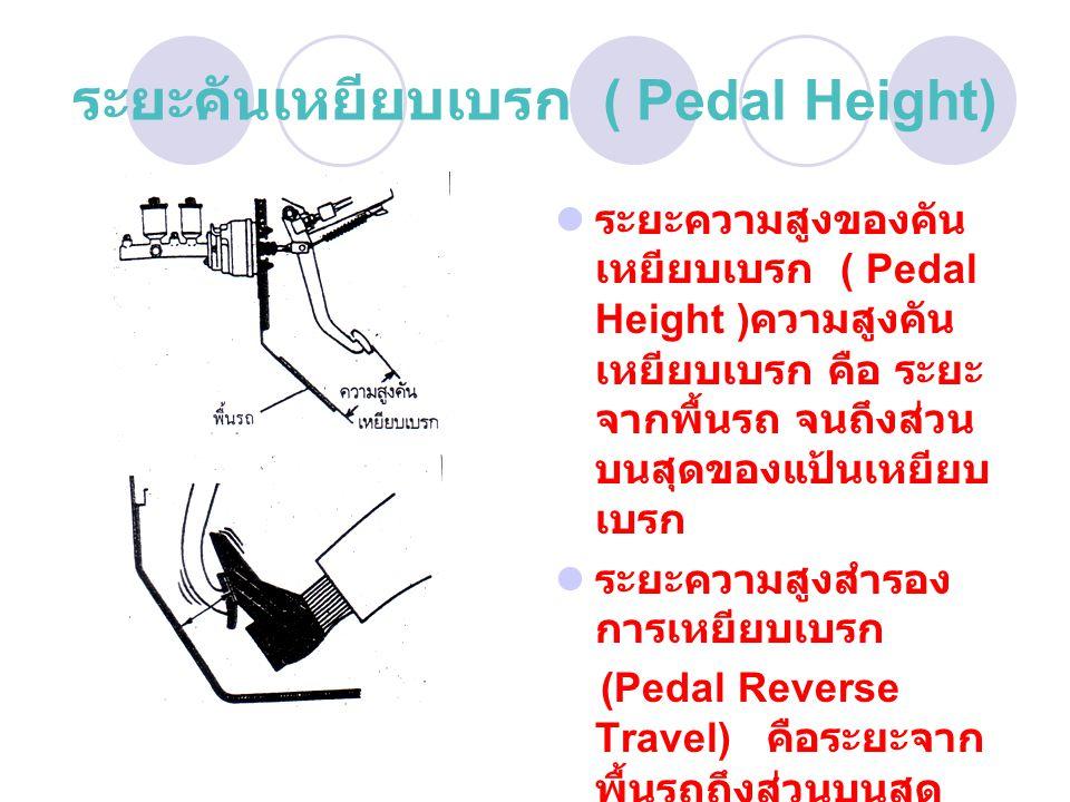 ระยะคันเหยียบเบรก ( Pedal Height) ระยะความสูงของคัน เหยียบเบรก ( Pedal Height ) ความสูงคัน เหยียบเบรก คือ ระยะ จากพื้นรถ จนถึงส่วน บนสุดของแป้นเหยียบ เบรก ระยะความสูงสำรอง การเหยียบเบรก (Pedal Reverse Travel) คือระยะจาก พื้นรถถึงส่วนบนสุด ของแป้นเหยียบเบรก