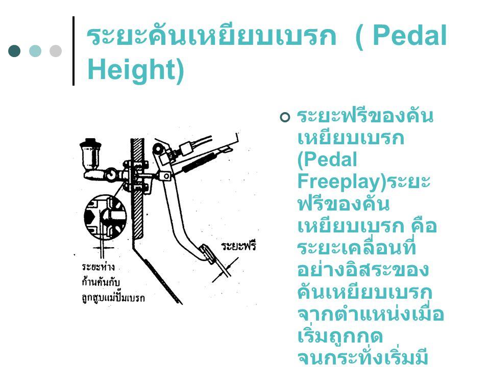 ระยะฟรีของคัน เหยียบเบรก (Pedal Freeplay) ระยะ ฟรีของคัน เหยียบเบรก คือ ระยะเคลื่อนที่ อย่างอิสระของ คันเหยียบเบรก จากตำแหน่งเมื่อ เริ่มถูกกด จนกระทั่งเริ่มมี แรงต้าน ( ระยะ ระหว่างก้านดัน ลูกสูบแม่ปั๊ม เบรก )