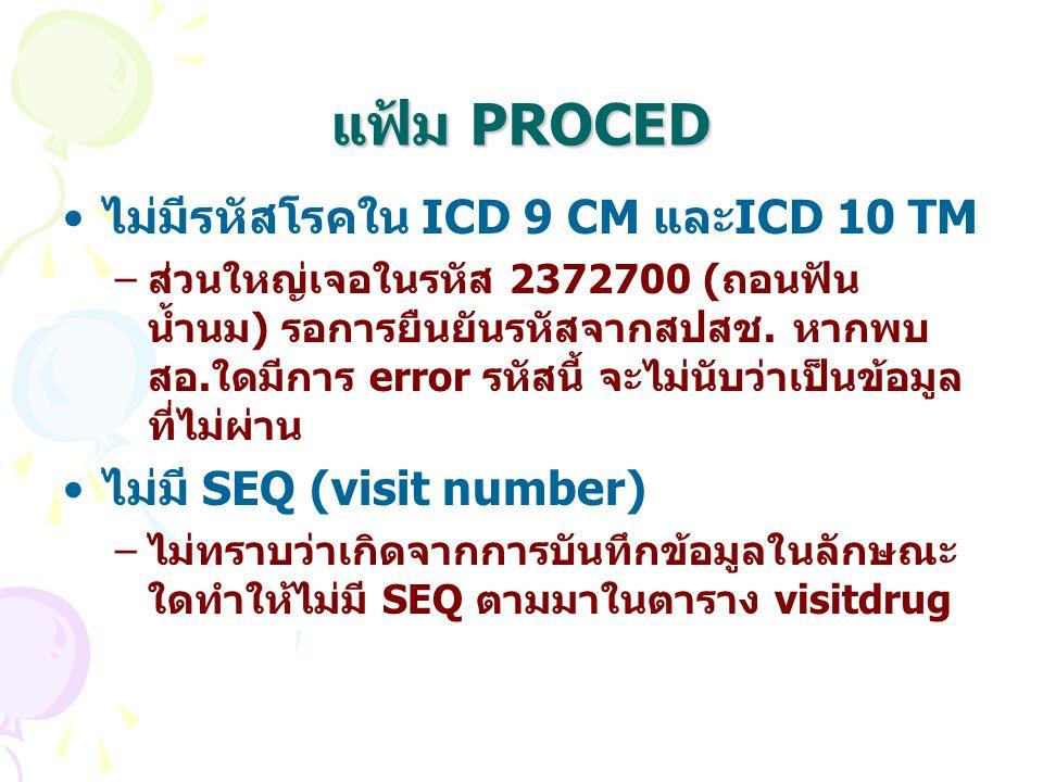 แฟ้ม PROCED ไม่มีรหัสโรคใน ICD 9 CM และICD 10 TM –ส่วนใหญ่เจอในรหัส 2372700 (ถอนฟัน น้ำนม) รอการยืนยันรหัสจากสปสช. หากพบ สอ.ใดมีการ error รหัสนี้ จะไม