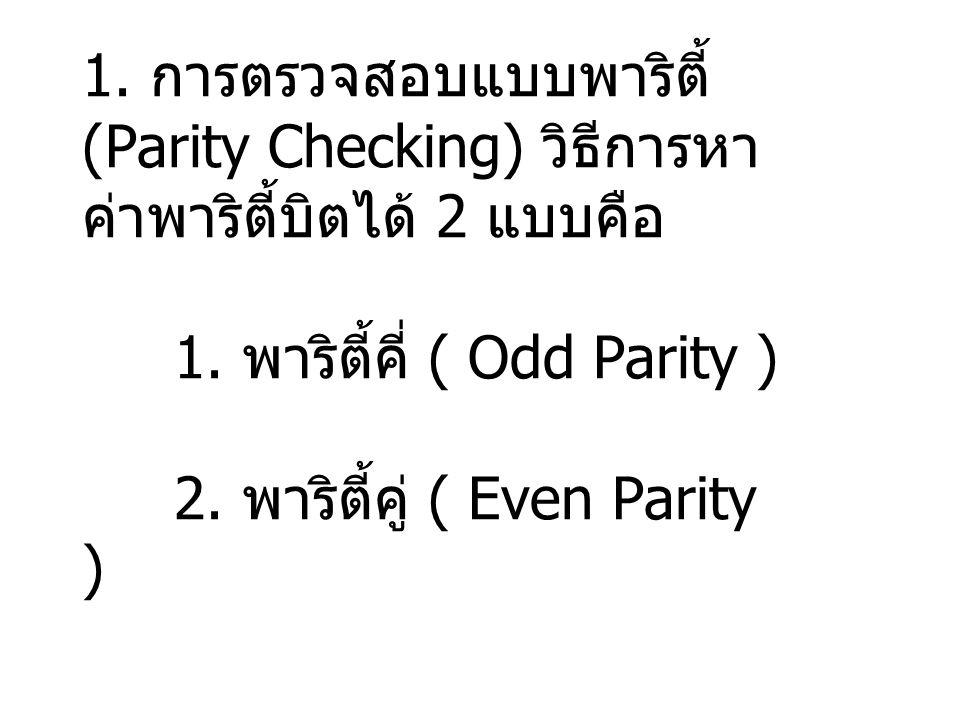 1. การตรวจสอบแบบพาริตี้ (Parity Checking) วิธีการหา ค่าพาริตี้บิตได้ 2 แบบคือ 1. พาริตี้คี่ ( Odd Parity ) 2. พาริตี้คู่ ( Even Parity )