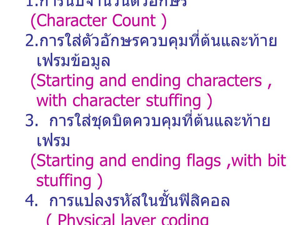 การจัดการเฟรมข้อมูล 4 วิธี 1. การนับจำนวนตัวอักษร (Character Count ) 2. การใส่ตัวอักษรควบคุมที่ต้นและท้าย เฟรมข้อมูล (Starting and ending characters,