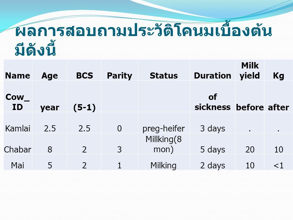 ผลการสอบถามประวัติโคนมเบื้องต้น มีดังนี้ NameAgeBCSParityStatusDuration Milk yieldKg Cow_ IDyear(5-1) of sicknessbeforeafter Kamlai2.5 0preg-heifer3 d