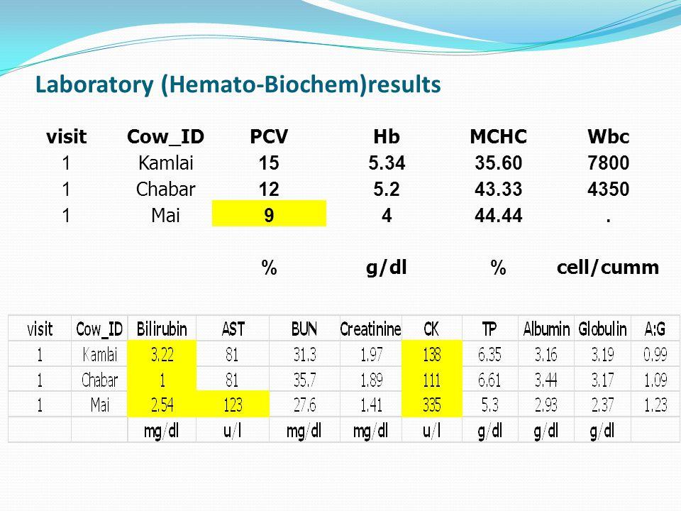 Laboratory (Hemato-Biochem)results visitCow_IDPCVHbMCHCWbc 1Kamlai155.3435.607800 1Chabar125.243.334350 1Mai9444.44. %g/dl%cell/cumm