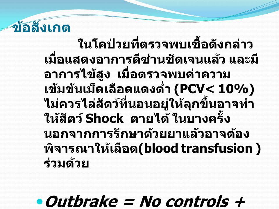 ข้อสังเกต ในโคป่วยที่ตรวจพบเชื้อดังกล่าว เมื่อแสดงอาการดีซ่านชัดเจนแล้ว และมี อาการไข้สูง เมื่อตรวจพบค่าความ เข้มข้นเม็ดเลือดแดงต่ำ (PCV< 10%) ไม่ควรไ