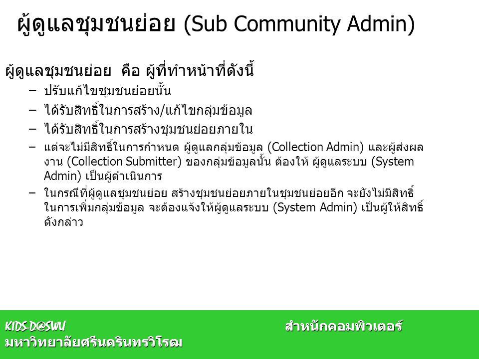 ผู้ดูแลชุมชนย่อย (Sub Community Admin) ผู้ดูแลชุมชนย่อย คือ ผู้ที่ทำหน้าที่ดังนี้ –ปรับแก้ไขชุมชนย่อยนั้น –ได้รับสิทธิ์ในการสร้าง/แก้ไขกลุ่มข้อมูล –ได